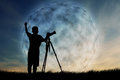 Silhouette of boy using camera Royalty Free Stock Photo