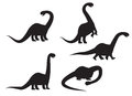 Silhouette of Brontosaurus dinosaur vector Royalty Free Stock Photo