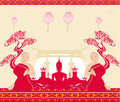 Silhouette of a buddha asian landscape and praying monks illustration Stock Photography