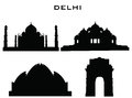Silhouette buildings delhi of city Stock Photo