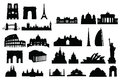 Silhouette buildings of paris london rome Royalty Free Stock Photography