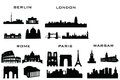 Silhouette buildings of paris london rome Royalty Free Stock Images