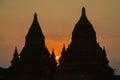 Silhouette of Bulethi pagoda at Sunrise Royalty Free Stock Photo