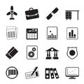 Silhouette business and office icons vector icon set Stock Photos
