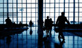 Silhouette of Business Traveler at Airport Royalty Free Stock Photo