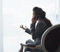 Silhouette of business woman talking cell phone Royalty Free Stock Photo