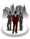 Silhouette of businessmen on an abstract background of the city Royalty Free Stock Photo