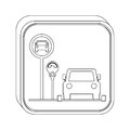 Silhouette button parking area for vehicles with parking meter Royalty Free Stock Photo