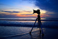 Silhouette camera on the beach thailand Stock Images