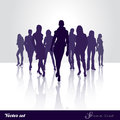 Silhouette catwalk vector set of girls Stock Photography