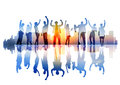 Silhouette of celebrating business people on a cityscape Stock Image