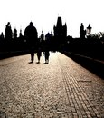 Silhouette on charles bridge in Prague Stock Photos