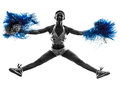 Silhouette cheerleading de majorette de jeune femme Photo libre de droits