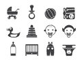 Silhouette Child, Baby and Baby Online Shop Icons Royalty Free Stock Photo