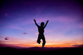 Silhouette of Child jumping up Royalty Free Stock Photo