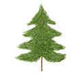 Silhouette of Christmas fir tree made of pine needles on a white background