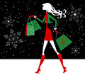 Silhouette Christmas Girl Shopper Royalty Free Stock Photo