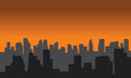 Silhouette of city black and gray color