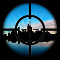 Silhouette of the city at gunpoint