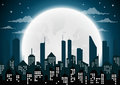 Silhouette of the city and night with full moon at the sky Royalty Free Stock Photo