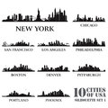 Silhouette city set of usa vector illustration Royalty Free Stock Image