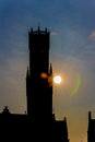 Silhouette of the clock tower of Bruges Royalty Free Stock Photo