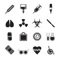 Silhouette collection of  medical themed icons and warning-signs Royalty Free Stock Photo
