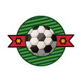 Silhouette color emblem with soccer ball and ribbon in middle Royalty Free Stock Photo