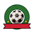 Silhouette color emblem with soccer ball and ribbon Royalty Free Stock Photo