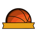 Silhouette color with half basketball ball and ribbon Royalty Free Stock Photo