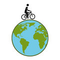 Silhouette color with and man in eco bike
