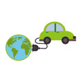 Silhouette color with map world and electric eco car