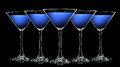 Silhouette of color martini glass on black Royalty Free Stock Photo
