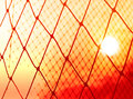Silhouette colorful of goal net soccer in the sunset Royalty Free Stock Photo