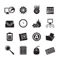 Silhouette computer mobile phone and internet icons vector icon set Stock Images