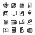 Silhouette Computer  Performance and Equipment Icons Royalty Free Stock Photo