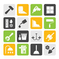 Silhouette Construction and building equipment Icons Royalty Free Stock Photo