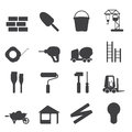 Silhouette Construction and Building Icon Set Royalty Free Stock Photo