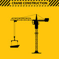 Silhouette construction cranes tower flat style