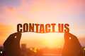 Silhouette contact us word Royalty Free Stock Photo
