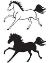 Silhouette and contour image of a beautiful horse galloping Stock Photo