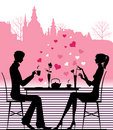 Silhouette of the couple in the cafe. Royalty Free Stock Photography