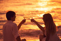 Silhouette of couple enjoying glass of champagne on tropical beach at sunset Stock Images