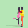 Silhouette Couple Lovers Hold Heart Embrace Colorful Fashion Dress Royalty Free Stock Photo