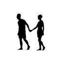 Silhouette Couple Man And Woman Walk Holding Hands Full Length Over White Background