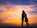 Silhouette of Couple at Sunset Royalty Free Stock Photo