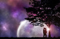 Silhouette Couple and tree with night sky. Royalty Free Stock Photo