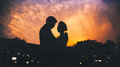 Silhouette couple Royalty Free Stock Photo