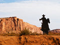 Silhouette of cowboy on horse in Monument Valley Royalty Free Stock Photography