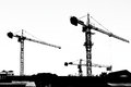 Silhouette crane working building Royalty Free Stock Photo